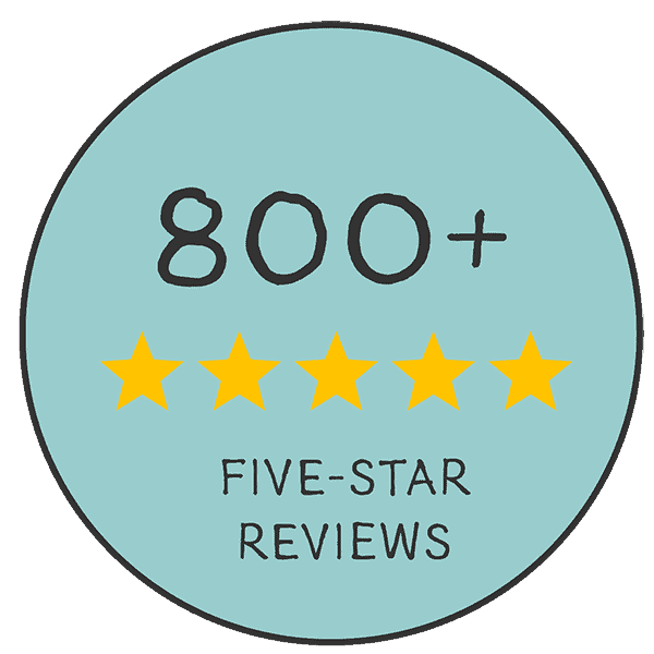 Award emblem showing more than 800 five-star reviews