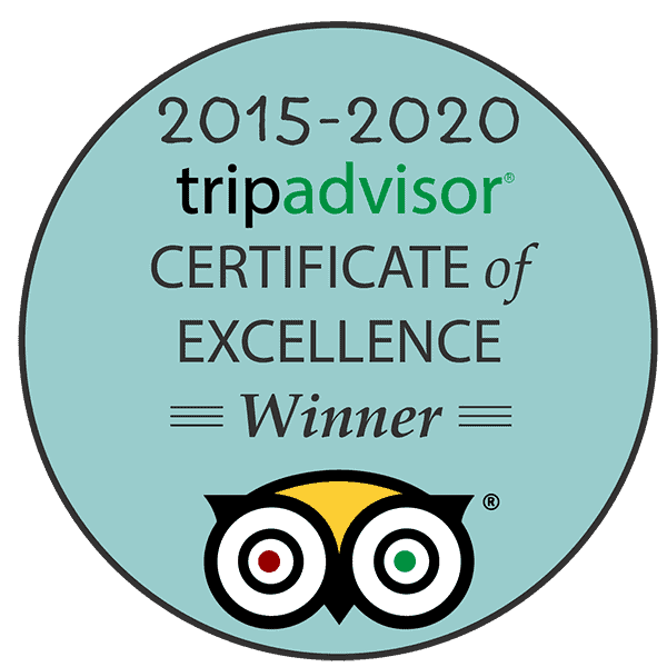 Award emblem showing tripadvisor certificate of excellence winner 2015-2020