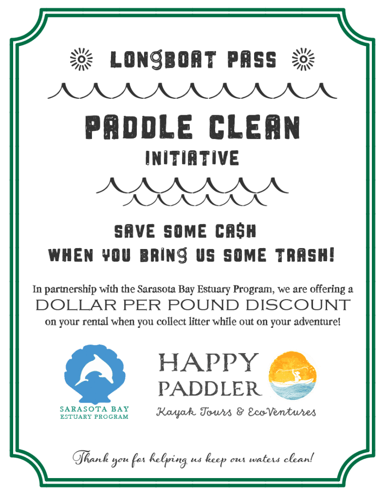 Paddle Clean Initiative flyer with details and logo from Sarasota Bay Estuary Program